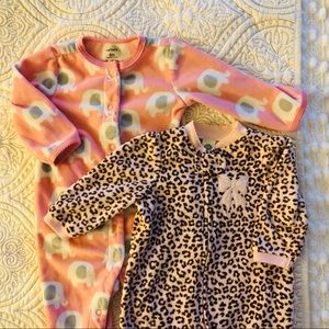 Two Fleece Footed Sleepers Size 6 Month